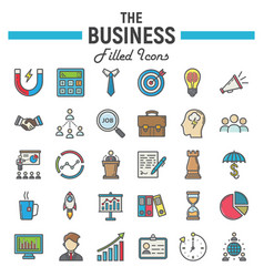 business colorful line icon set finance signs vector image vector image