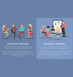 Business training set posters success motivation vector