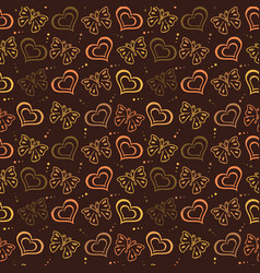 butterfly love hand drawn pattern with brown color vector image