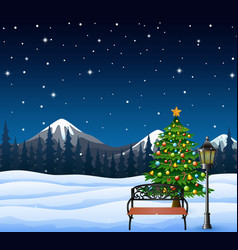 cartoon of christmas tree decorated and bench with vector image