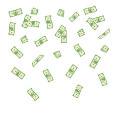 Cartoon paper money falling on vector