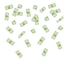 cartoon paper money falling vector image