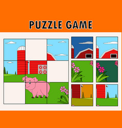 Cartoon pig of educational puzzle vector