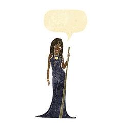 cartoon sorceress with speech bubble vector image