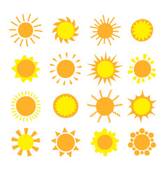 cartoon sun collection yellow sun icons set vector image
