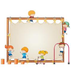 Children on empty board vector