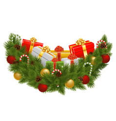 Christmas Decoration with Gifts vector image