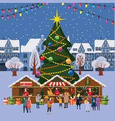 Christmas village winter town souvenirs market vector