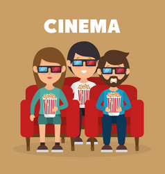 Cinema people eating pop corn and watching a movie vector