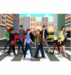 City people crossing the street during rush hour vector