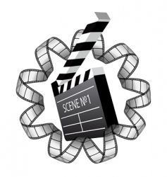 Clapboard and film strip vector