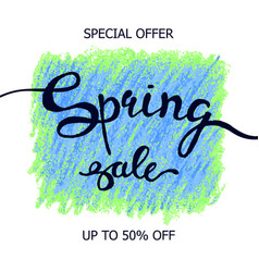Colorful crayon scribble poster spring sale vector