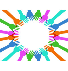 colorful hands around with copy space vector image