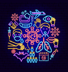 coronavirus prevention neon concept vector image