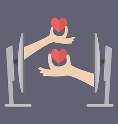 Couple hands holding hearts from two computers vector image