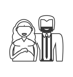 Couple pregnant family outline vector