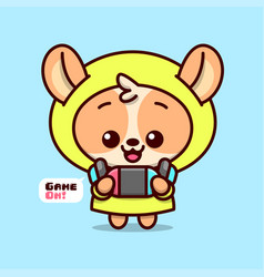 Cute brown puppy in yellow hoodie jacket with blue vector