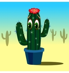 Cute cartoon cactus with eyes in flower pot vector