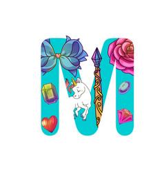 cute magic letter m vector image