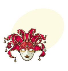Decorated venetian carnival jester mask with vector