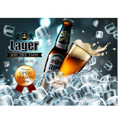 design of advertising beer with bottle and glass vector image