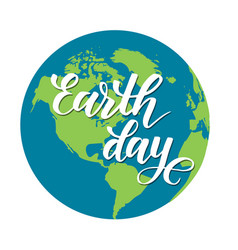 earth day modern brush calligraphy vector image