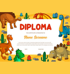 Education diploma certificate template with dinos vector