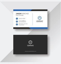 Elegant business card with blue details vector
