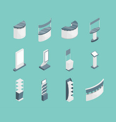 exhibition stands 3d icons set isometric view vector image