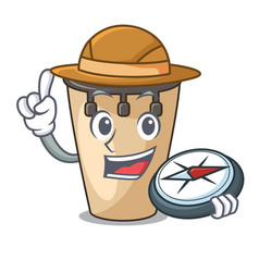 Explorer conga mascot cartoon style vector