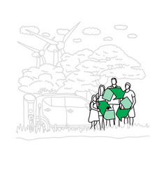 family people holding green recycle sign vector image