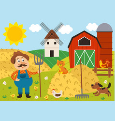 Farmer with pitchfork and pets vector