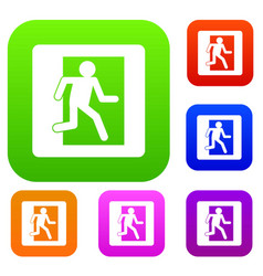 fire exit sign set color collection vector image