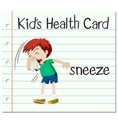 Flashcard with word sneeze vector