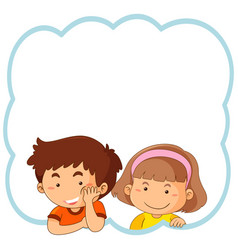 flat boy and girl frame vector image