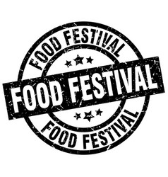 Food festival round grunge black stamp vector
