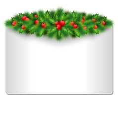 Frame with holly and pine isolated on white vector