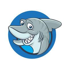 Funny shark mascot vector
