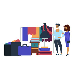 Garage sale of textile furniture and suitcases vector