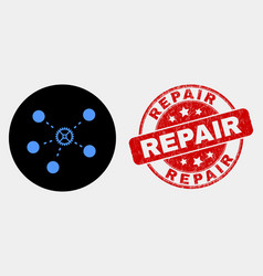 gear links icon and distress repair stamp vector image