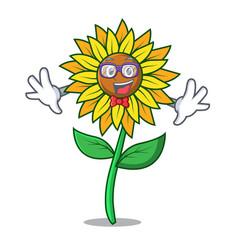 Geek sunflower character cartoon style vector