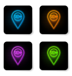 glowing neon map pointer with 18 plus icon vector image