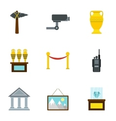 Going to museum icons set flat style vector