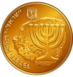 Gold Israeli money ten agorot coin vector