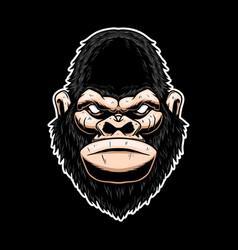 Gorilla head design element for logo label sign vector
