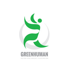 green leaves human character - logo vector image