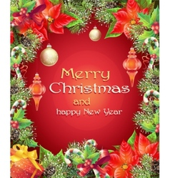 Greeting card with Christmas and New Year tree vector image