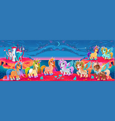 Groups of unicorns and pegasus in a fantasy vector