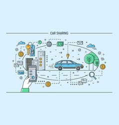 Hand holding smartphone and automobile on city vector