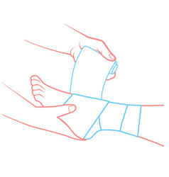 hand that bandaging the foot vector image